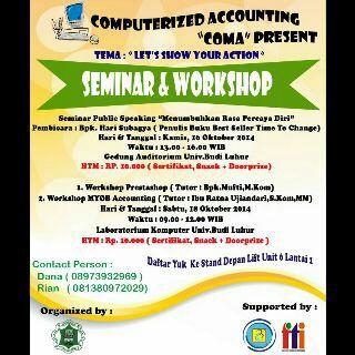 """Seminar Public Speaking """" Menumbuhkan Rasa Percaya Diri"""" dan Workshop """"Prestashop dan Myob Accounting """""""