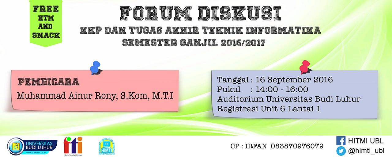 Forum Diskusi Bimbingan KKP dan Skripsi Teknik Informatika Semester Gasal 2016/2017