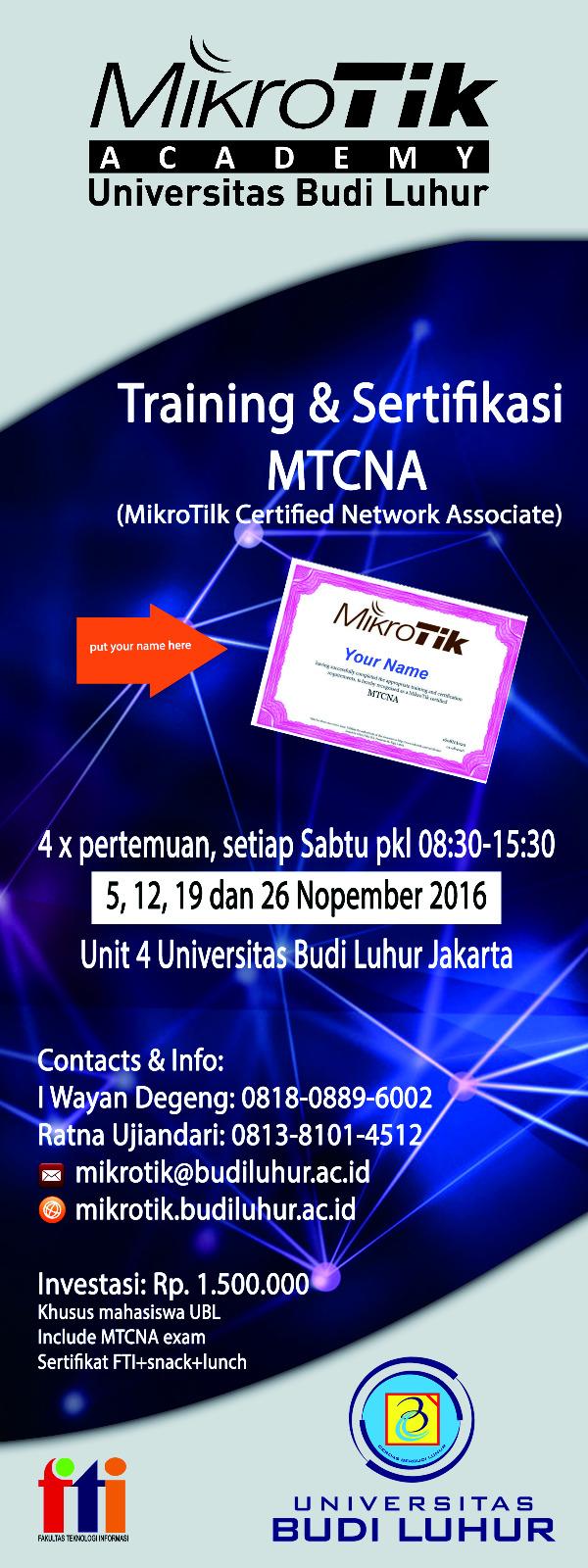 Training & Sertifikasi Mikrotik MTCNA