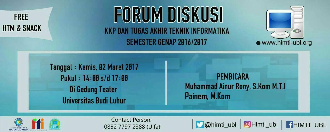 Forum Diskusi Kuliah Kerja Praktek dan Tugas Akhir Program Studi Teknik Informatika Genap 2016/2017