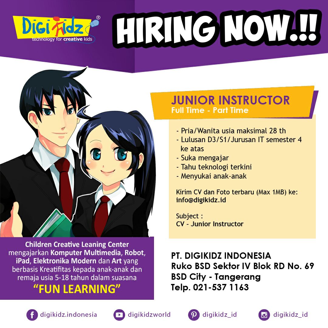 Hiring Now !!! PT DigiKidz