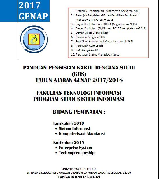 Panduan Pengisian KRS Genap 2017/2018 Program Studi Sistem Informasi – Fakultas Teknologi Informasi