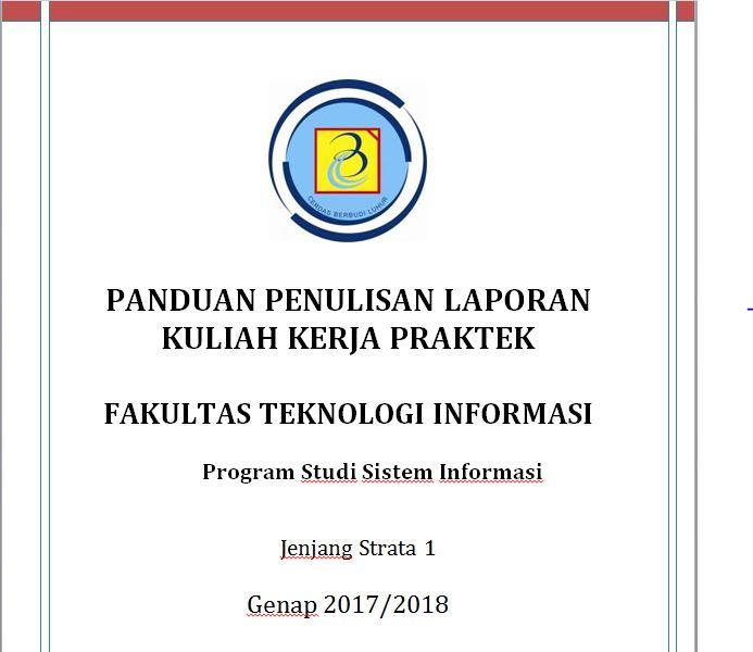 PANDUAN PENULISAN KKP SISTEM INFORMASI SEMESTER GENAP 2017/2018
