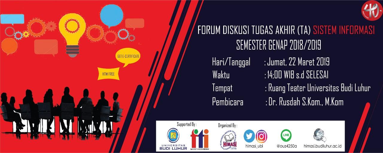 Forum Diskusi Persiapan Kuliah Kerja Praktek Program Studi Sistem Informasi Semester Genap 2018/2019