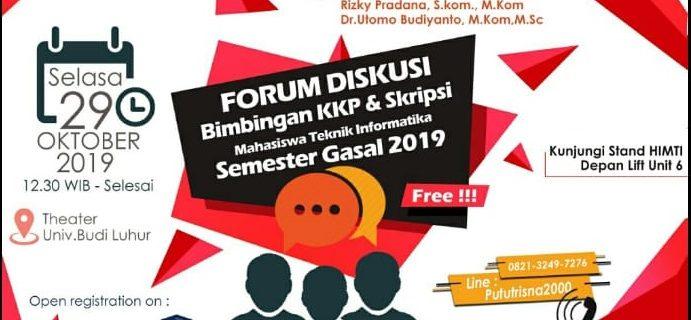 Pelaksanaan Forum Diskusi Bimbingan KKP & Skripsi Mahasiswa Teknik Informatika Semester Gasal 2019/2020