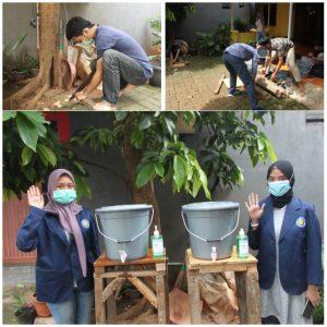 Proses pembuatan tempat cuci tangan yang akan diperuntukkan untuk lingkungan sekitar RW dan di taman belajar anak-anak